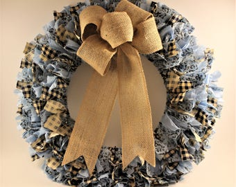 Blue Fabric Wreath, Rustic, Front Door Wreath, Rag Wreath, Rag Wreath Farmhouse, Country, Country Wreath