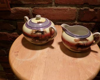 1950's Tashiro Shoten Lusterware Cream and Sugar Set, Hand painted cream and sugar
