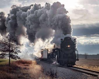 Lustre Print: Pere Marquette 1225 Steam Engine, a.k.a. The Polar Express