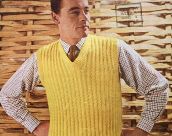 "Vintage knitting pattern 1950's Lee Target 6165 sleeveless pullover/ tank top 38-40"" DK"