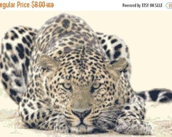 Leopard Cross Stitch Pattern Leopard pattern wild cross stitch nature pattern - 200 x 137 stitches - INSTANT Download - B206
