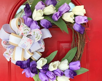 Tulip wreath Purple tulip wreath Grapevine wreath Front door wreath Summer wreath Spring wreath Mother's Day gift Tulip Grapevine wreath