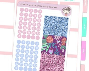 Dates and Glitter Headers - Alice / Planner Stickers