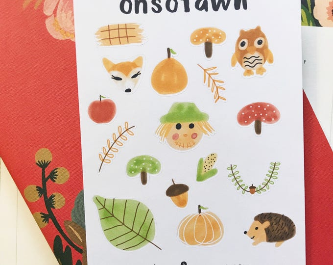 Hand Drawn Fall Harvest Stickers