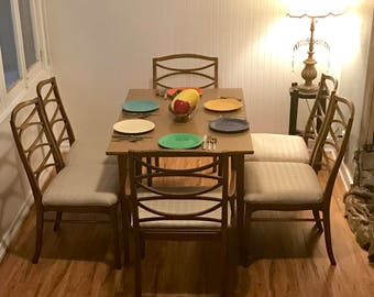 Mid Century Dining Chairs by Thomasville, Hollywood Regency Cats Eye Chair Set of 6, Danish Modern Ladder Back Cat-eye Dining Room Chair Set