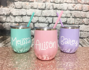 Personalized Wine Glass - Metal Wine Glass - Metal Wine Tumbler - Bachelorette Party Favors - Personalized Wine Glass Wine Tumbler with Lid