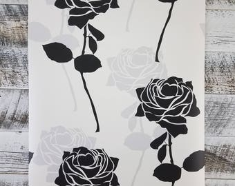 White Black and Grey Rose Large Print Wallpaper BW28745
