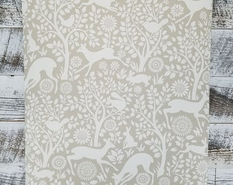 Brewster Anahi Neutral Tan Woodland Fauna Animal Wallpaper HAS01236