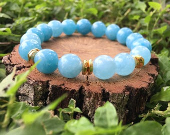 Priscilla Bracelet- Blue Sponge Quartz(10mm) - 22k gold plated nuggets- blue and gold- boho beaded bracelet - OliverGreyJewelry