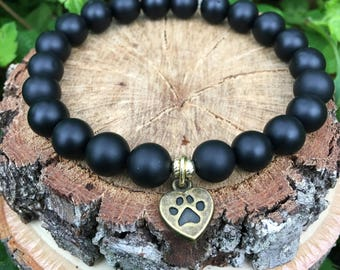 Love my dog- Black Onyx(8mm) Bracelet-Oliver Grey Jewelry - Puppy Charm - Stacking Bracelets - Gemstone Bracelet - Earthy Jewelry