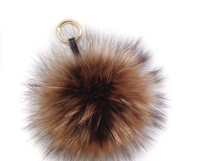 No Dye Fox Fur Pom Pom luxury bag pendant with leather strap buckle key ring chain bag charm