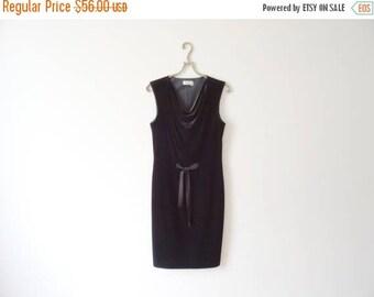 ON SALE Little Black Dress Black Velvet Dress Black Cocktail Dress Evening Dress Sleeveless Dress Size Small
