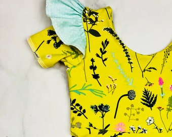 Leotard// Girl Dress // Girl Leotard//Spring//Citron//Floral//Toddler Top//Leotard//Swing Dress