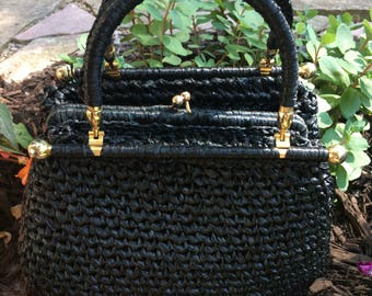 Reserved for Daisy Vintage Black Straw 1960's Handbag Top Handle Purse with Gold Accents