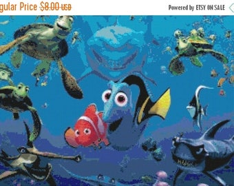 "ON SALE Counted Cross Stitch Pattern chart pdf file -  Finding dory nemo - 19.71"" x 13.14"" - L1009"