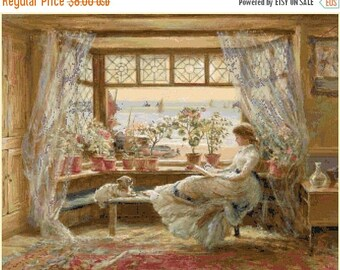 """Counted Cross Stitch Pattern chart modern cross stitch - Reading by window by Charles James Lewis -23.64"""" x 18.50"""" - L1330"""