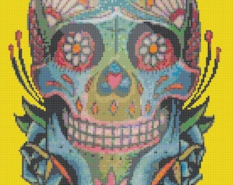 "sugar skull Counted Cross Stitch sugar skull Pattern pdf file ristipisto kuvio needlepoint korss - 9.86"" x 15.43"" - L912"