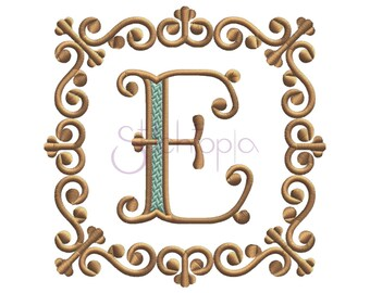 Victorian Square Embroidery Frame #1 - 7 Sizes 10 Formats Embroidery Monogram Frame Machine Embroidery Design Frame - Instant Download Files