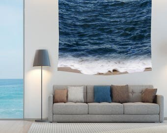 Ocean Wall Tapestry Deep Blue Indigo Wave Beach Sea Coastal Surf Hanging