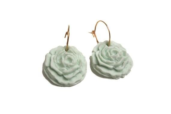 DESTASH Stud Earrings gold plated 24 k pink porcelain cold sea green