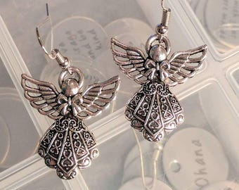 Angel Earrings - Christmas Earrings - Silver Earrings