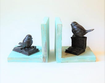 Bookish Birds Bookends Weathered Wood Robins Egg Blue Turquoise
