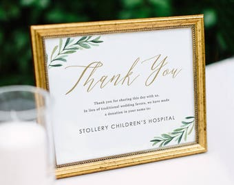 Greenery In Lieu of Favor Sign, Donation Sign, Donation Wedding Sign, Wedding Signs | Edit in Word and Pages