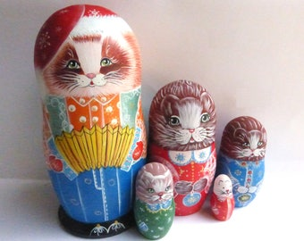 Russian dolls Matryoshka Nesting dolls Babushka  Cats Kittens hand made exclusive wooden dolls
