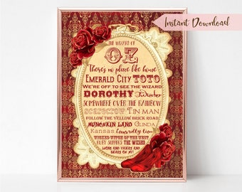 Wizard of Oz Wall Art Print - Wizard of Oz - Oz Quotes - Printable Wall Art - Nursery - Gift - Home - Typography - Red - Ruby Slippers