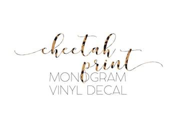 Cheetah Print Monogram Vinyl Decal