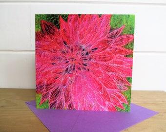 Dahlia card ~ artist card ~ printed art card ~ blank card ~ flowers card ~ thank you card ~ wedding card