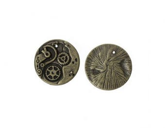 20 charms 20mm Bronze Steampunk gears