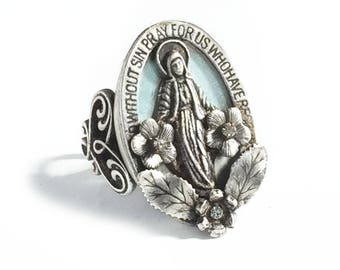 Our Lady of Miracles Virgin Mary Ring, Catholic Medal, Mother of Jesus Medal, Our Lady Ring, Catholic Jewelry, Mother Mary Ring R546