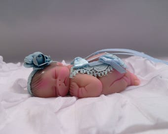 "Polymer Clay Babies ""Shabby Chic Baby Girl"", Gift, Memorial, Keepsake, Collectible BABY SIZE 2.5"" Photo Props, Baby Shower, Cake Topper"