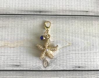 Golden Starfish Charm -planner charm/purse charm/zipper pull/keychain