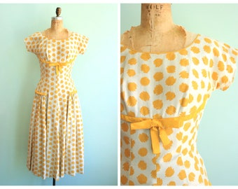 Vintage 1950's Yellow Polka Dot Drop Waist Dress | Size Small