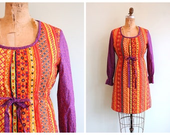 Vintage 1970's Colorful Quilted Dress | Size Medium