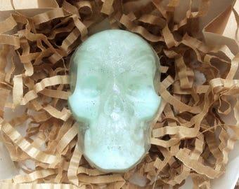 Mint skull soap, skull soap, gothic soap, halloween soaps, halloween favor, goth soaps, creepy soap, skeleton soap, unique soap,strange soap