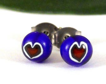 Tiny Heart Stud Earrings, Surgical Steel Posts, Fused Glass in Blue and Red, Valentines Day