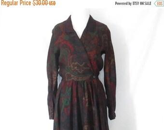 1980's Paisley Dress Wool Blend Floral Dress Vintage Wrap Style Dress 80's Clothing