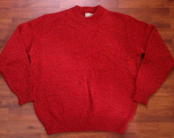Red wool sweater | Etsy