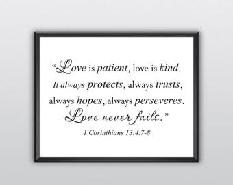 75% off Love Is Patient Wall Art Print Love Is Kind Inspirational Quote It Always Protects Typographic Print Always Trusts Print (T191)