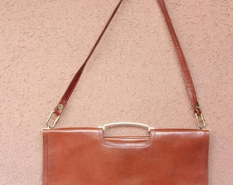 Summer Sale 1970's Carame Leather Bag - 70's Brown Satchel Bag