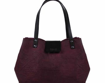 Lined, Waxed Cotton Canvas Tote Bag - Burgundy - Leather Handle