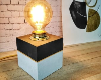 Black White Gold Concrete Table Lamp, Modern Table Lamp, Small Lamp Table,  Cube