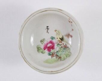 Vintage 1930s Chinese porcelain bird and inscription stem dish