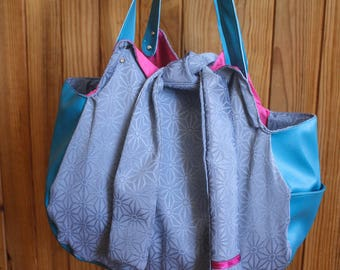 Blue and Pink Tulip bag