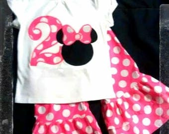 Minnie Mouse Inspired Birthday Outfit 1st 2nd 3rd Shirt with Age, Mouse head with Appliqued Bow NO NAME, Double Ruffled Pink Polka Dot Pants