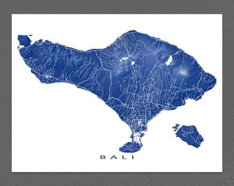 Bali Map Art, Indonesia Island Map Artwork Print