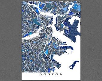 Boston Map, Boston Print, City Map Art, Massachusetts USA